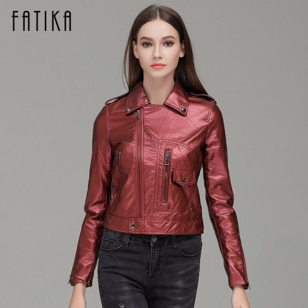 Autumn Winter Fashion Women Faux Leather Jackets and Coats Zipper Flying Motorcycle Jacket Outwear With Epaulet Extra Image 3