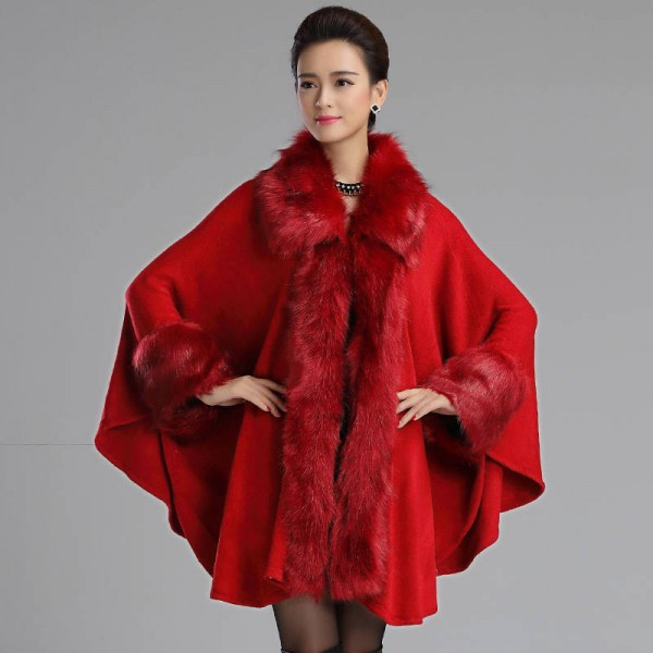 Autumn Winter Long Luxury Cardigan Fox Fur Collar Cashmere Sweater Cardigan Women Extra Images 1