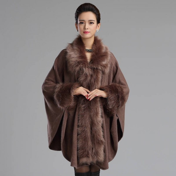 Autumn Winter Long Luxury Cardigan Fox Fur Collar Cashmere Sweater Cardigan Women Extra Images 4