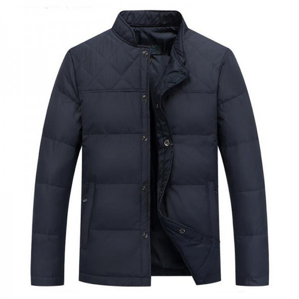 Autumn Winter Men Thin Down Coat New Arrival Solid Color Regular Length Male Outwear Plus Size Male Coats