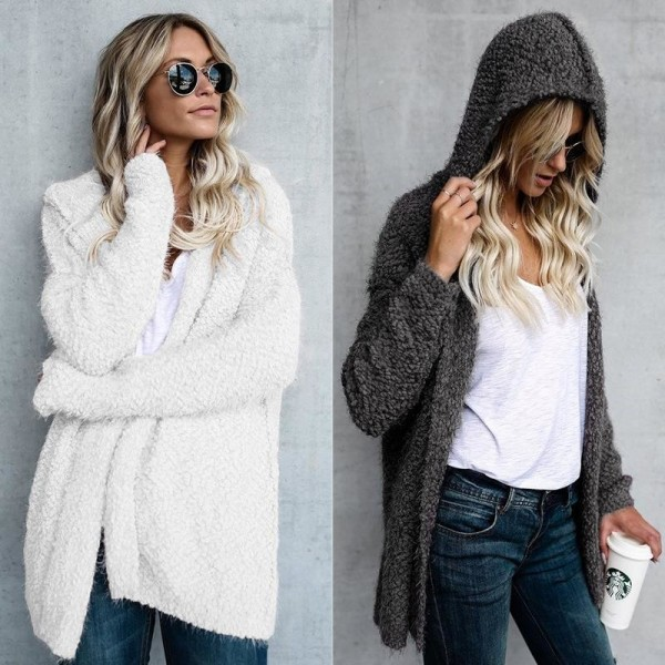 Autumn Winter New Women Sweater Cardigan Loose Coat Knit Soft Long Sleeve Hooded Sweater Jacket Cardigan Tops Extra Image 2