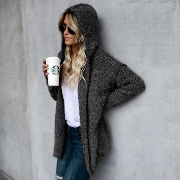Autumn Winter New Women Sweater Cardigan Loose Coat Knit Soft Long Sleeve Hooded Sweater Jacket Cardigan Tops Extra Image 5