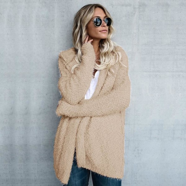 Autumn Winter New Women Sweater Cardigan Loose Coat Knit Soft Long Sleeve Hooded Sweater Jacket Cardigan Tops Extra Image 6