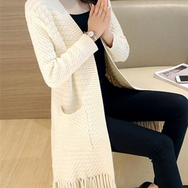 Autumn Winter Tassel Knitted Cardigan Sweater Coat One Size Long Sleeve Casual Party Sweaters Tops Long Outwear Coat Extra Image 2