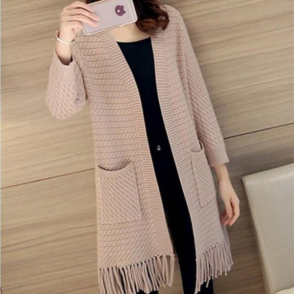 Autumn Winter Tassel Knitted Cardigan Sweater Coat One Size Long Sleeve Casual Party Sweaters Tops Long Outwear Coat Extra Image 4