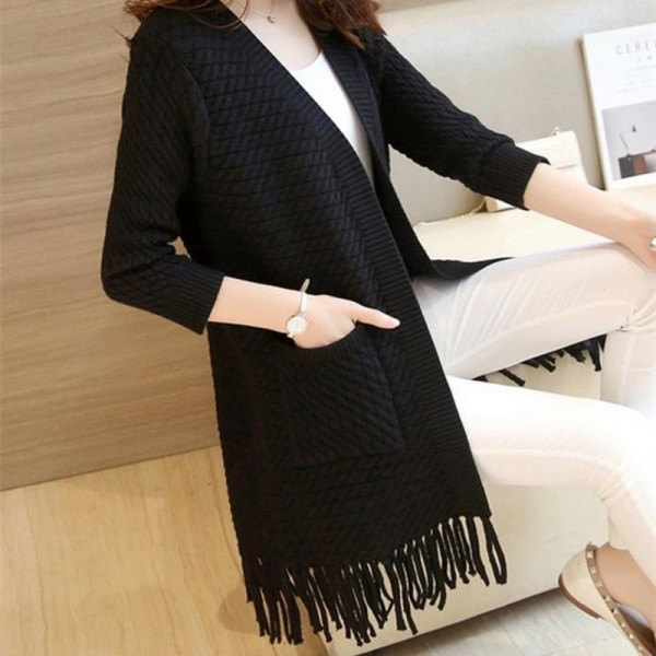 Autumn Winter Tassel Knitted Cardigan Sweater Coat One Size Long Sleeve Casual Party Sweaters Tops Long Outwear Coat Extra Image 5