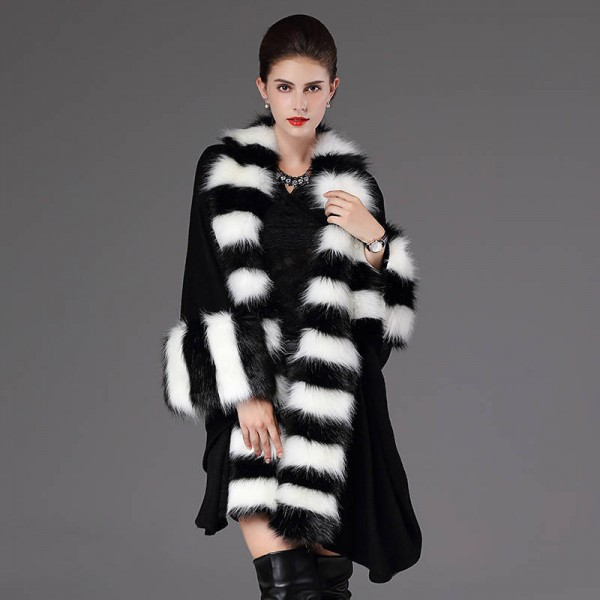 Autumn Winter Warm Loose Poncho Casual Cloak Long Knitted Cardigan Fur Collar Extra Images 1