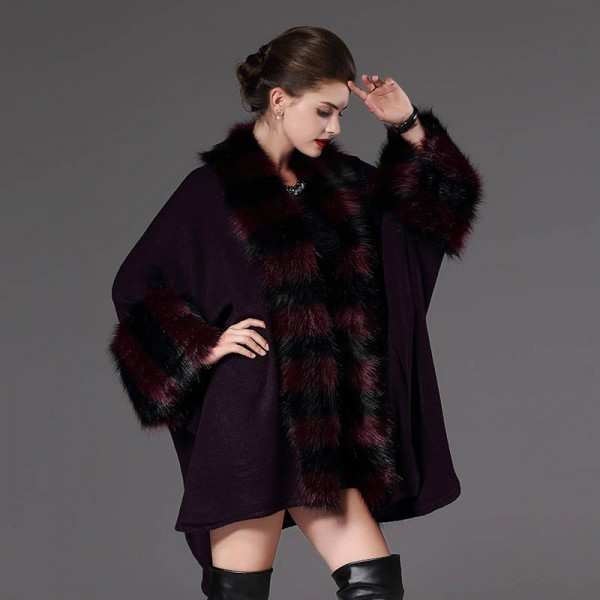 Autumn Winter Warm Loose Poncho Casual Cloak Long Knitted Cardigan Fur Collar Extra Images 2