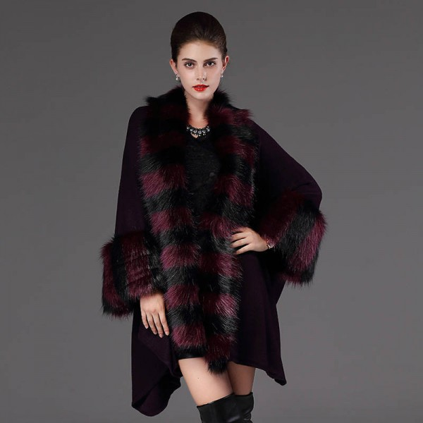 Autumn Winter Warm Loose Poncho Casual Cloak Long Knitted Cardigan Fur Collar Extra Images 3