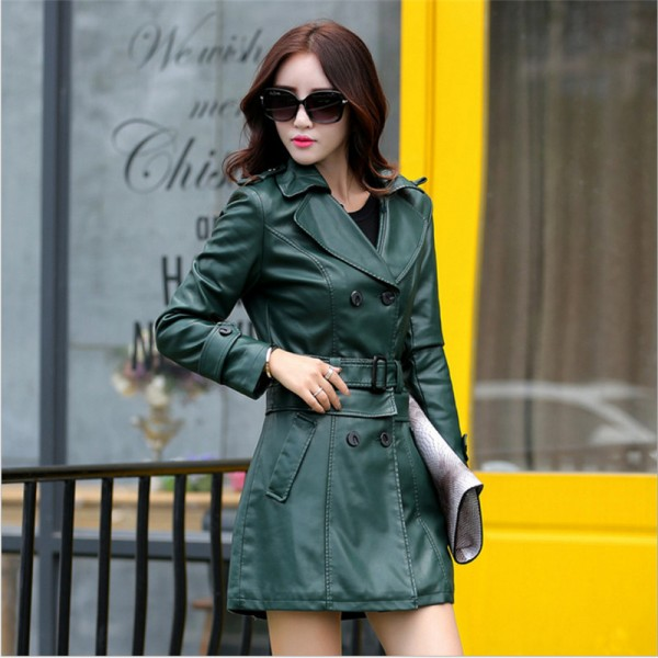 Autumn Winter Women Long Leather Jacket Slim Plus Size Bow Belt Motorcycle PU Leather Long Jacket Coat Leather Trench Extra Image 2