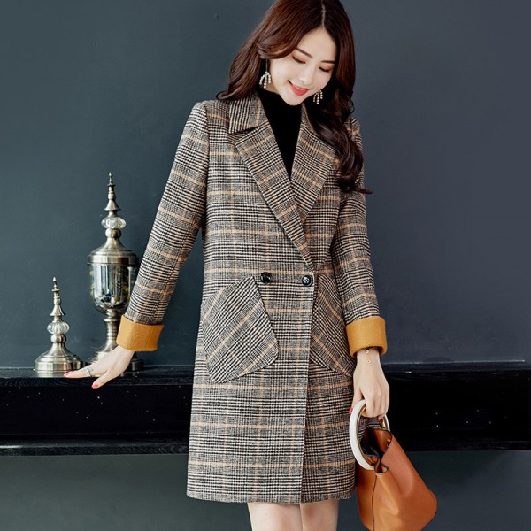 Autumn Winter Wool Women Plaid Pockets Blends Office Work Long Coats Fashion Brand Lady Slim Lapel Long Sleeve Extra Image 2