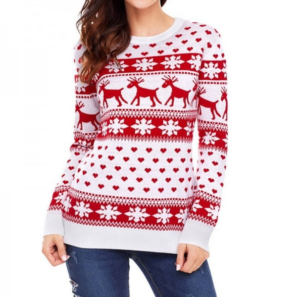 Autumn Women Casual Long Sleeve Christmas Sweaters Deer Print O Neck Slim Pullover Warm Sweater Winter Tops