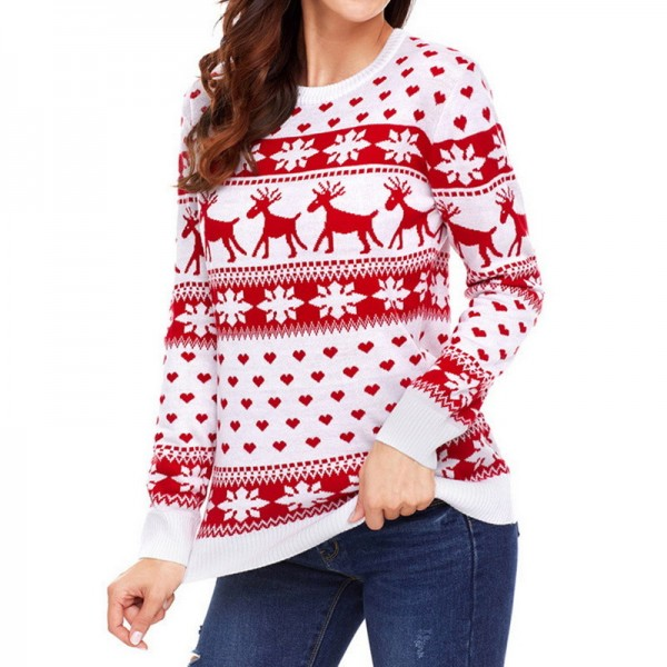 Autumn Women Casual Long Sleeve Christmas Sweaters Deer Print O Neck Slim Pullover Warm Sweater Winter Tops Extra Image 1