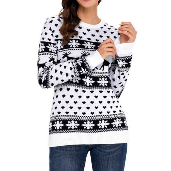 Autumn Women Casual Long Sleeve Christmas Sweaters Deer Print O Neck Slim Pullover Warm Sweater Winter Tops Extra Image 2