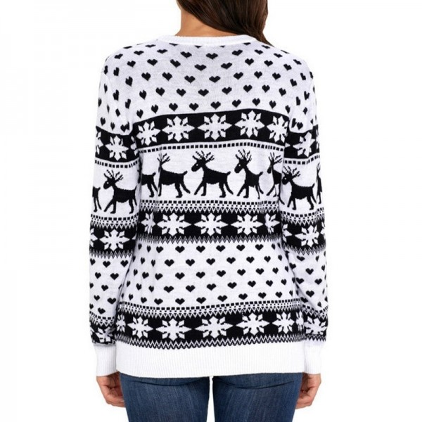 Autumn Women Casual Long Sleeve Christmas Sweaters Deer Print O Neck Slim Pullover Warm Sweater Winter Tops Extra Image 3
