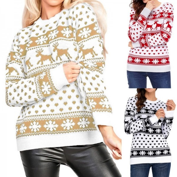 Autumn Women Casual Long Sleeve Christmas Sweaters Deer Print O Neck Slim Pullover Warm Sweater Winter Tops Extra Image 5