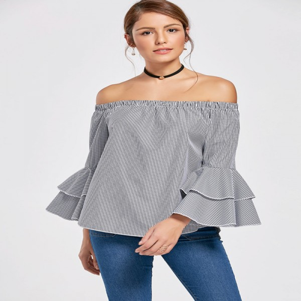 Autumn Women Flounce Plaid Blouse Flare Sleeve Off Shoulder Slash Neck Irregular Hem Tops Female Clothing