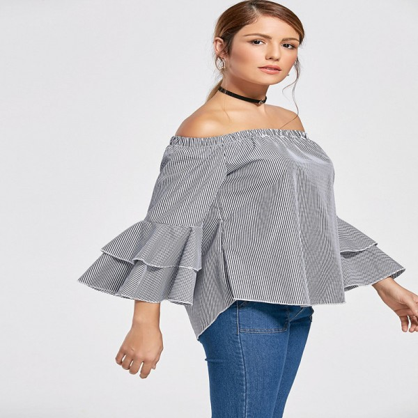 Autumn Women Flounce Plaid Blouse Flare Sleeve Off Shoulder Slash Neck Irregular Hem Tops Female Clothing Extra Image 3