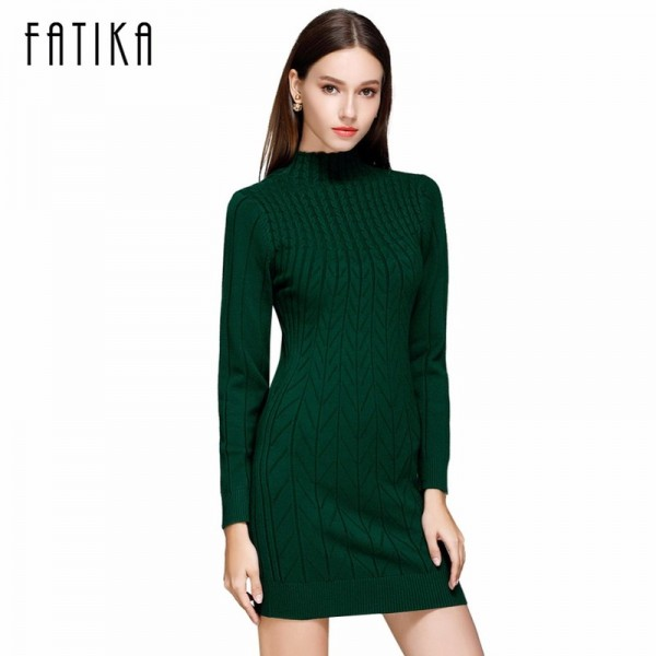 Autumn Women Sweater Dresses Long Sleeve Knitted Wool Sweater Dress Female Turtleneck Mini Slim Dress Woman Extra Image 1