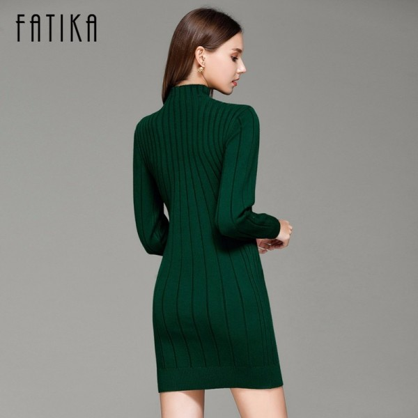 Autumn Women Sweater Dresses Long Sleeve Knitted Wool Sweater Dress Female Turtleneck Mini Slim Dress Woman Extra Image 4