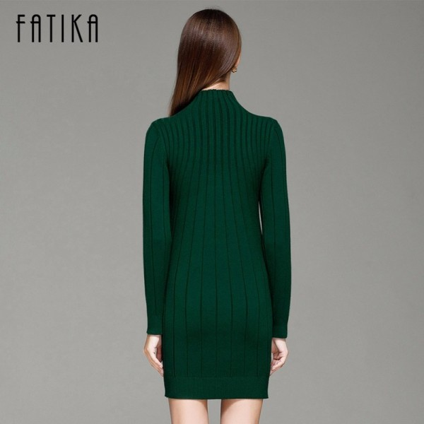 Autumn Women Sweater Dresses Long Sleeve Knitted Wool Sweater Dress Female Turtleneck Mini Slim Dress Woman Extra Image 5