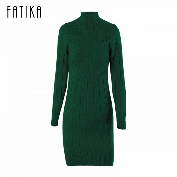 Autumn Women Sweater Dresses Long Sleeve Knitted Wool Sweater Dress Female Turtleneck Mini Slim Dress Woman Extra Image 6