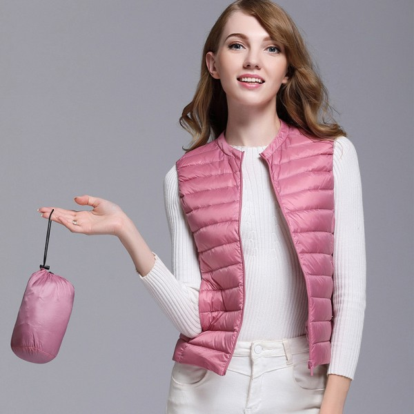 Autumn Women White Duck Down Vest Ultra Light Down Vest Jacket Winter Round Collar Peter Pan Slim Sleeveless Coat Extra Image 1