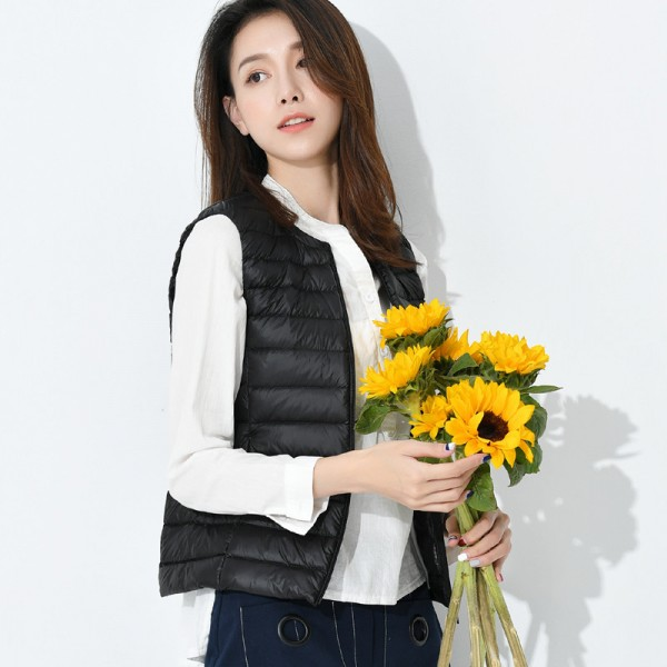 Autumn Women White Duck Down Vest Ultra Light Down Vest Jacket Winter Round Collar Peter Pan Slim Sleeveless Coat Extra Image 3