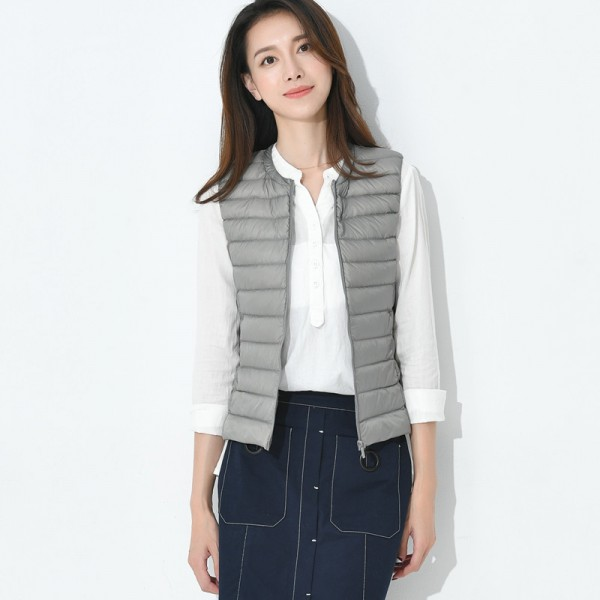 Autumn Women White Duck Down Vest Ultra Light Down Vest Jacket Winter Round Collar Peter Pan Slim Sleeveless Coat Extra Image 4