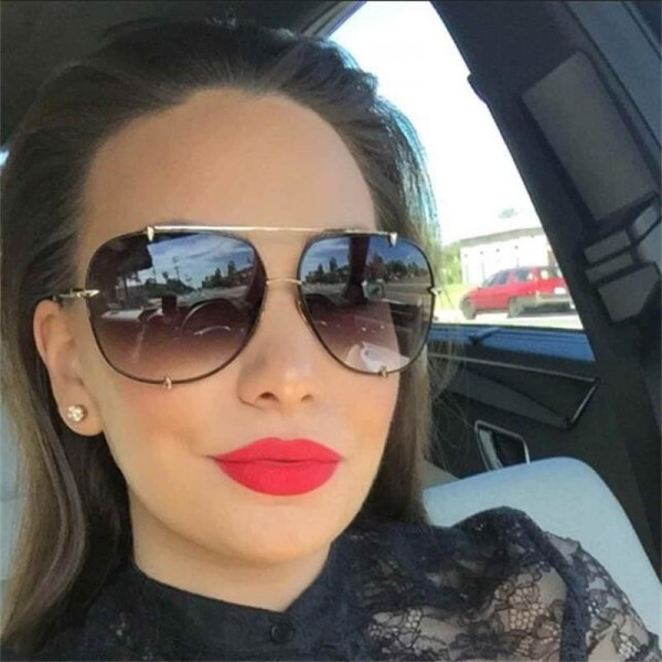 Aviation Oversize Sunglasses Women Classic Brand Design Metal Frame Sun Glasses Vintage Retro Eyewear Gradient Shades Extra Image 2