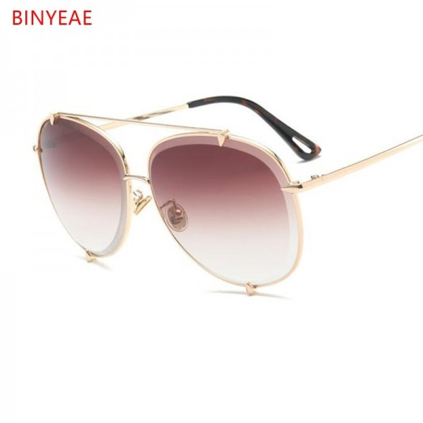 Aviation Oversize Sunglasses Women Classic Brand Design Metal Frame Sun Glasses Vintage Retro Eyewear Gradient Shades Extra Image 4
