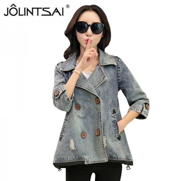 Basic Coats Spring Style Women Denim Jacket Autumn Vintage Plus Size Long Sleeve Loose Female Jeans Coat Casual Outwear Extra Image 1