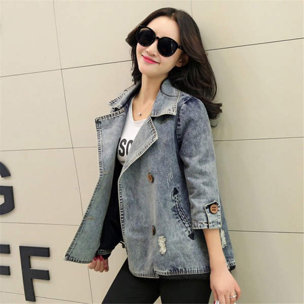 Basic Coats Spring Style Women Denim Jacket Autumn Vintage Plus Size Long Sleeve Loose Female Jeans Coat Casual Outwear Extra Image 2