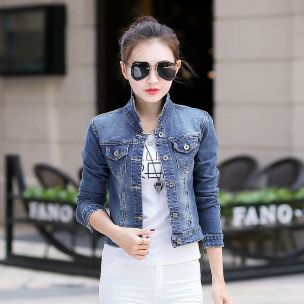 Basic Coats Women Vintage Fashion  Slim Autumn Denim Jacket Plus Size Long Sleeve Short Jeans Jacket Coat Tops Extra Image 3
