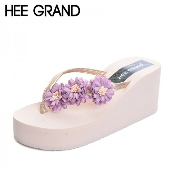 Beach Flowers Flip Flops 2018 New Wedges Slides Casual Platform Shoes Woman Slip On Creepers Slippers Extra Image 1