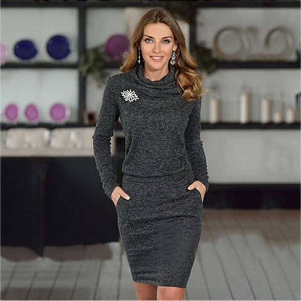 Beforw Autumn Winter Solid Color Sexy Casual Dress Long Sleeve Pencil Dress  Women Thumbnail ... 3c8d8f327bf9