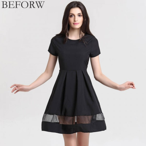 Beforw Brand Women Dresses Round Neck Solid Casual Summer Dress Spicy Vintage For Ladies Thumbnail