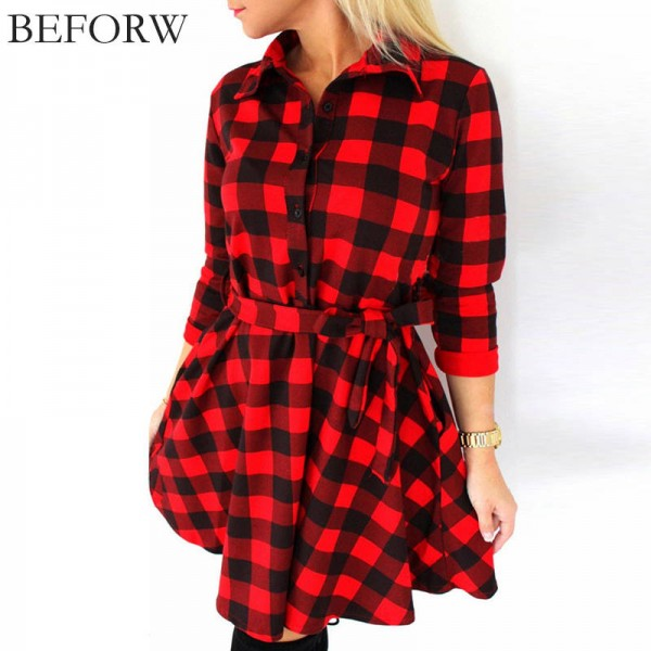 Beforw Plaided Autumn Winter Dress Flax Casual Office Free Belt Vintage Dress Women Thumbnail