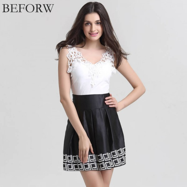 Beforw Summer Vintage Dress V Neck Patchwork Vestidos Sleeveless Dress For Women Thumbnail