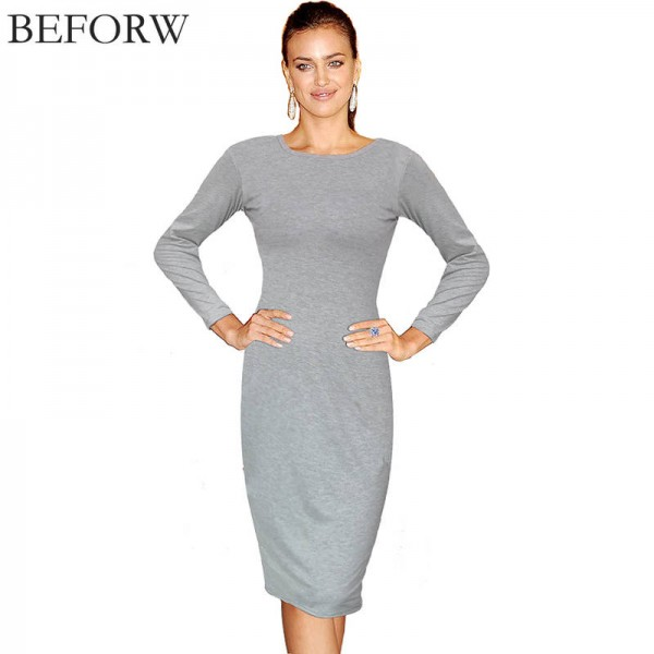 Beforw Winter Autumn Cotton Dress Long Sleeve Knee Length Vintage ...