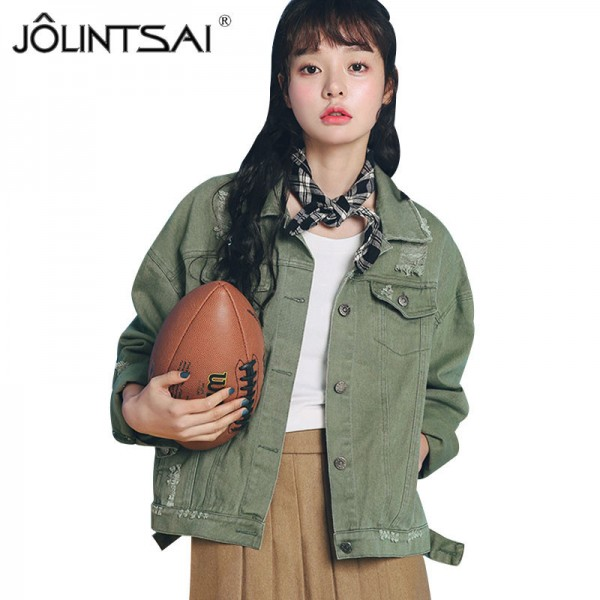 Beige Pink Army Green Denim Jacket Women New Korean Fashion Casual Loose Jeans Jackets Pure Color BF Style Extra Image 1
