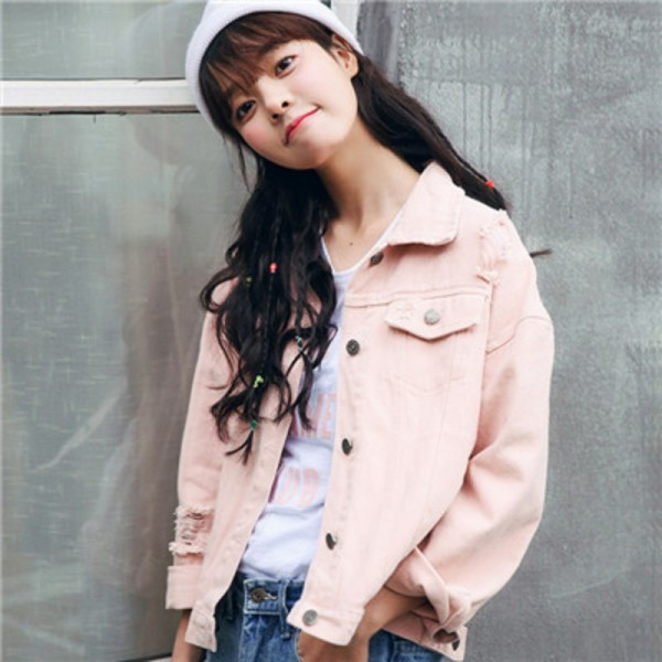 216ddb24293 Beige Pink Army Green Denim Jacket Women New Korean Fashion Casual Loose  Jeans Jackets Pure Color BF Style