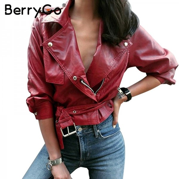 Belt basic jacket Fashion red three quarter sleeve PU leather jacket coat female Casual outerwear faux leather coat
