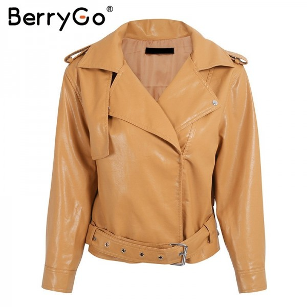 Belt basic jacket Fashion red three quarter sleeve PU leather jacket coat female Casual outerwear faux leather coat Extra Image 4