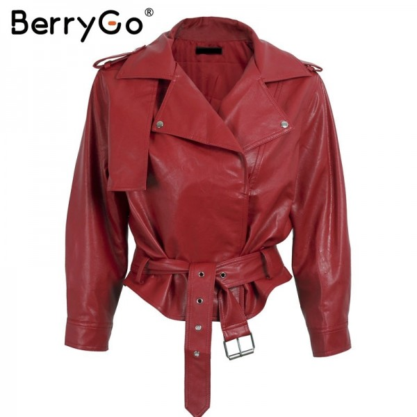 Belt basic jacket Fashion red three quarter sleeve PU leather jacket coat female Casual outerwear faux leather coat Extra Image 5
