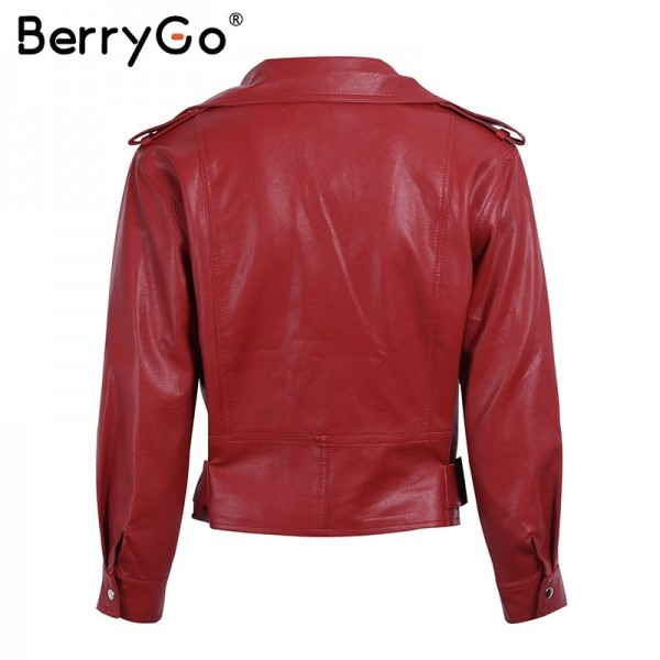 Belt basic jacket Fashion red three quarter sleeve PU leather jacket coat female Casual outerwear faux leather coat Extra Image 6