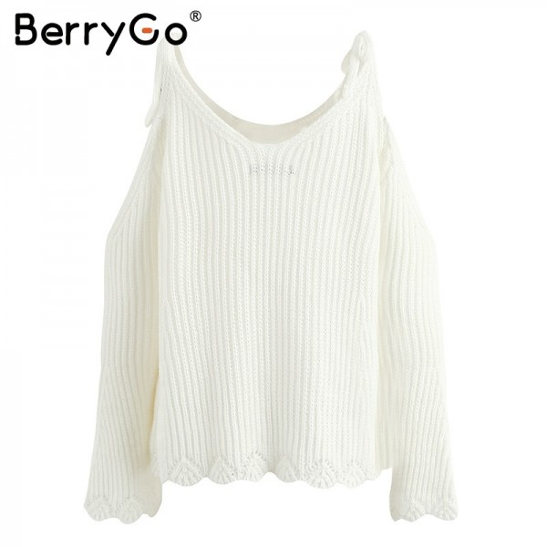 BerryGo Cut Out Off Shoulder Knitted Pullover Women Casual Straps Flare Sleeve Sweater Loose Backless Streetwear Jumper Extra Image 5
