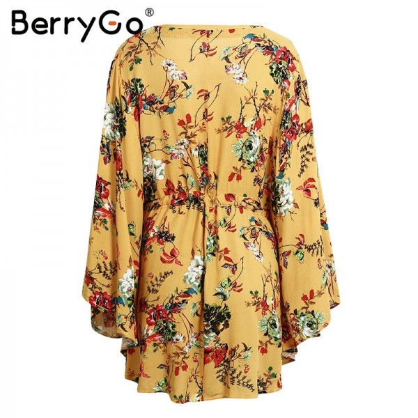 BerryGo flower Print batwing sleeve summer dress women Sexy v neck high waist beach dress bow short dresses streetwear Extra Image 5