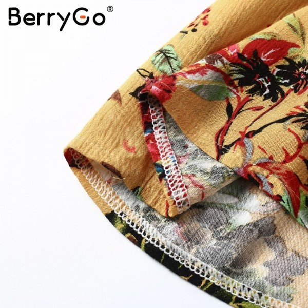 BerryGo flower Print batwing sleeve summer dress women Sexy v neck high waist beach dress bow short dresses streetwear Extra Image 6