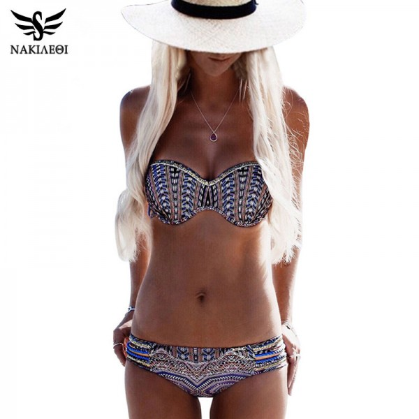 Bikinis Women Swimsuit Push Up Swimwear Women Sexy Bandeau Print Brazilian Bikini Set Beach Bathing Suit Swim Wear Extra Image 1